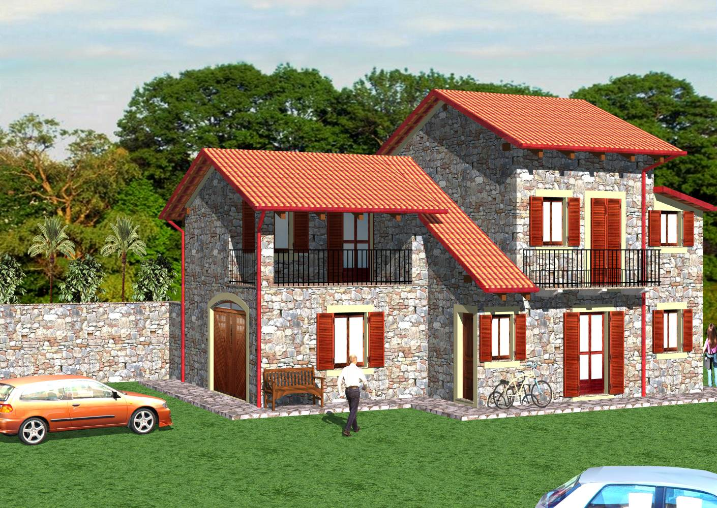 Villetta con murature in pietra e mattoni progettazione for Mattoni e pietra americani